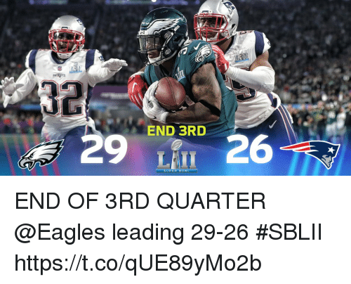 Philadelphia Eagles, Memes, and 🤖: END 3RD  29 26  SUPER BOWIL END OF 3RD QUARTER  @Eagles leading 29-26 #SBLII https://t.co/qUE89yMo2b