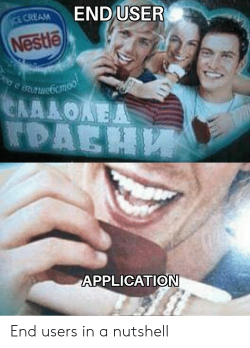 application: END USER  CE CREAM  Nestle  URUNebcmeo  ΕΛΛΛΟΑΕΑ  TDAEH  APPLICATION End users in a nutshell