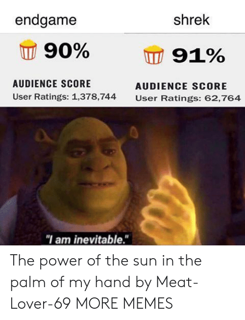 "audience: endgame  shrek  90%  91%  AUDIENCE SCORE  AUDIENCE SCORE  User Ratings: 1,378,744  User Ratings: 62,764  ""I am inevitable."" The power of the sun in the palm of my hand by Meat-Lover-69 MORE MEMES"