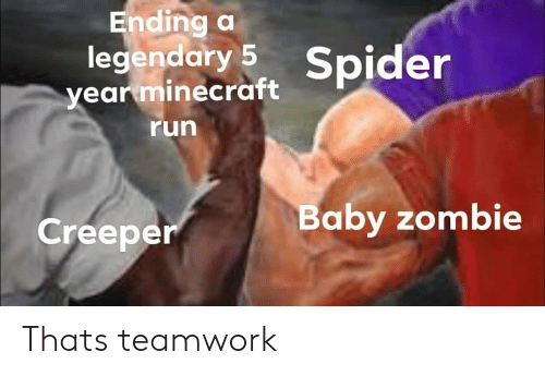 teamwork: Ending a  legendary 5 Spider  year minecraft  run  aby zombie  Creeper Thats teamwork