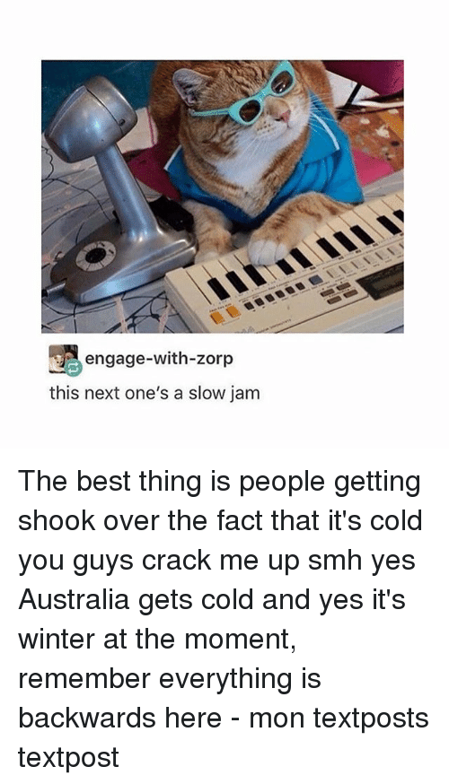 Memes, Smh, and Winter: engage-with-zorp  this next one's a slow jam The best thing is people getting shook over the fact that it's cold you guys crack me up smh yes Australia gets cold and yes it's winter at the moment, remember everything is backwards here - mon textposts textpost
