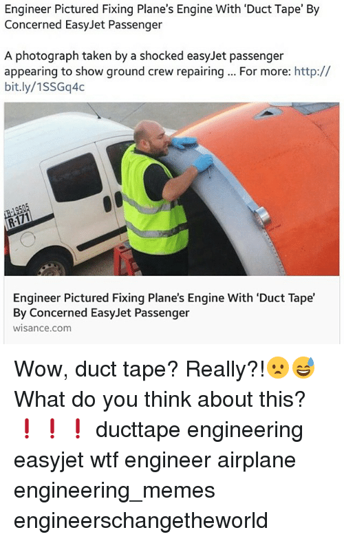 engineer pictured fixing planes engine with duct tape by concerned 288678 engineer pictured fixing plane's engine with 'duct tape' by