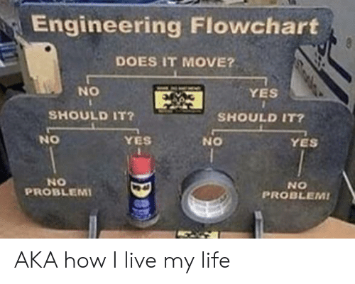 Live My Life: Engineering Flowchart  8  DOES IT MOVE?  NO  YES  SHOULD IT?  SHOULD IT?  NO  YES  YES  ON  NO  PROBLEMI  NO  PROBLEM! AKA how I live my life