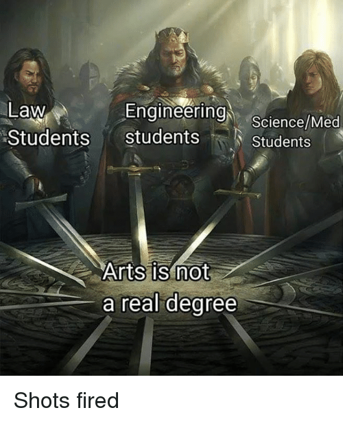 shots fired: Engineering  Law  Students students  Science/Med  Students  Arts is not  a real dearee Shots fired