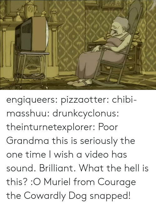 Courage the Cowardly Dog: engiqueers:  pizzaotter:  chibi-masshuu:  drunkcyclonus:  theinturnetexplorer:  Poor Grandma  this is seriously the one time I wish a video has sound.  Brilliant.  What the hell is this? :O   Muriel from Courage the Cowardly Dog snapped!