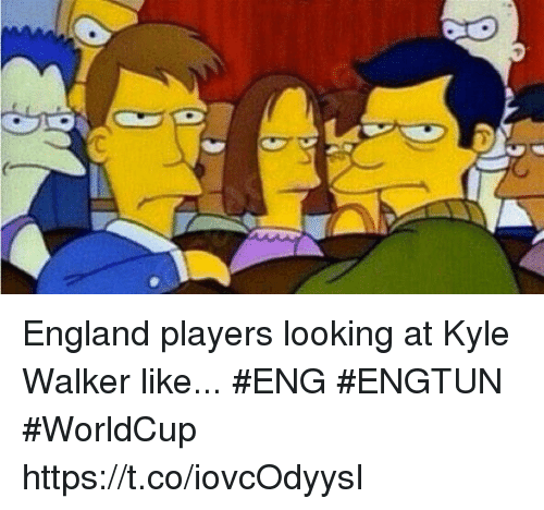 England, Soccer, and Looking: England players looking at Kyle Walker like... #ENG #ENGTUN #WorldCup https://t.co/iovcOdyysI