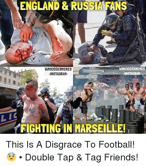 Cars, England, and Friends: ENGLAND & RUSSIA FANS  TAHSOCCERMEMES  IAMSOCCERMEMES  Opera unicipal  elNSTAGRAH  INSTAGRAM  Cars du Touri  me  A8  LIC  FIGHTING IN MARSEILLE! This Is A Disgrace To Football! 😨 • Double Tap & Tag Friends!