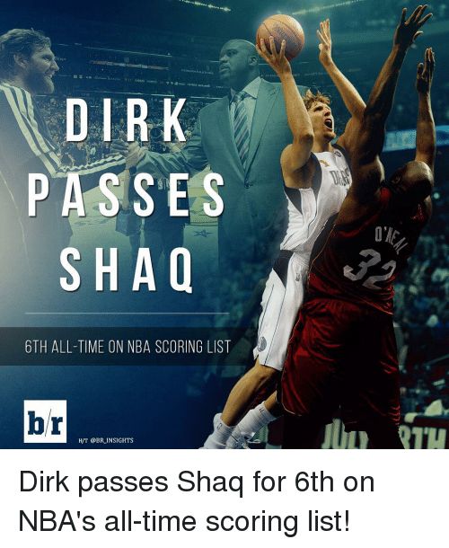 Nba, Shaq, and Sports: ENT  PASSES  SHAQ  6TH ALL-TIME ON NBA SCORING LIST  br  H/T @BR INSIGHTS Dirk passes Shaq for 6th on NBA's all-time scoring list!