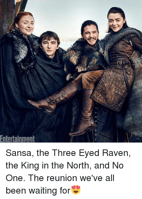 three eyed raven: Entertainnment Sansa, the Three Eyed Raven, the King in the North, and No One. The reunion we've all been waiting for😍