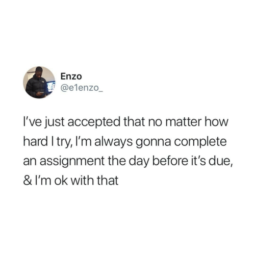 assignment: Enzo  @e1enzo_  I've just accepted that no matter how  hard I try, I'm always gonna complete  an assignment the day before it's due,  & I'm ok with that
