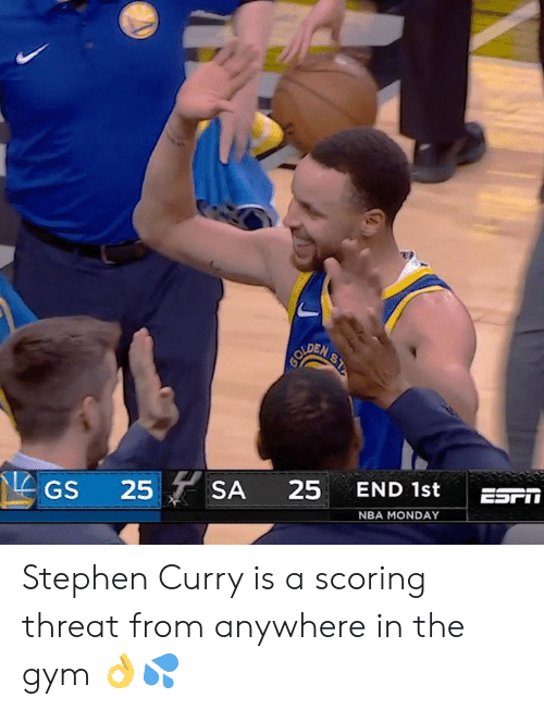 Stephen Curry: EP  DEN  GS 25SA 25 END 1st ES  NBA MONDAY Stephen Curry is a scoring threat from anywhere in the gym 👌💦