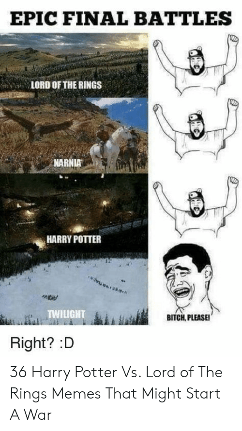 Harry Potter, Memes, and Lord of the Rings: EPIC FINAL BATTLES  LORD OF THE RINGS  NARNIA  HARRY POTTER  TWILIGHT  BITCH, PLEASE!  Right? :D 36 Harry Potter Vs. Lord of The Rings Memes That Might Start A War