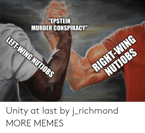 "right wing: ""EPSTEIN  MURDER CONSPIRACY""  LEFT-WING NUTIOBS  RIGHT-WING  NUTJOBS Unity at last by j_richmond MORE MEMES"