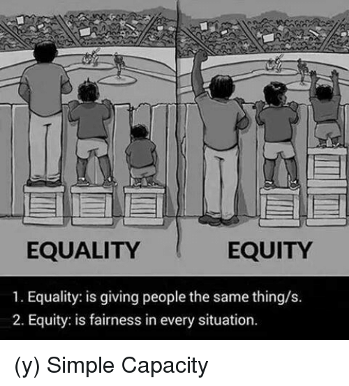 Memes, 🤖, and Simple: EQUALITY  EQUITY  1. Equality: is giving people the same thing/s  2. Equity: is fairness in every situation (y) Simple Capacity