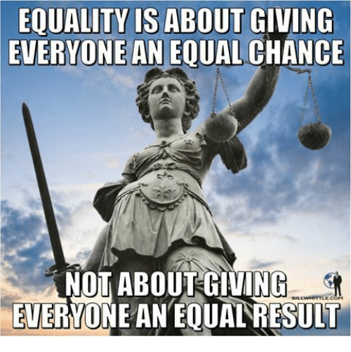 Chance, Everyone, and Equality: EQUALITY IS ABOUT GIVING  EVERYONE  AN EQUAL CHANCE  NOT ABOUTGIVING  EUERYONE AN EQUAL RESULT  BILLWHITTLELCOM