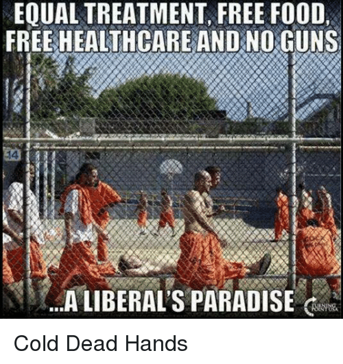 Dead Hand: EQUALTREATMENT, FREE FOOD,  FREE HEALTHCARE AND NO GUNS  A LIBERALS PARADISE Cold Dead Hands