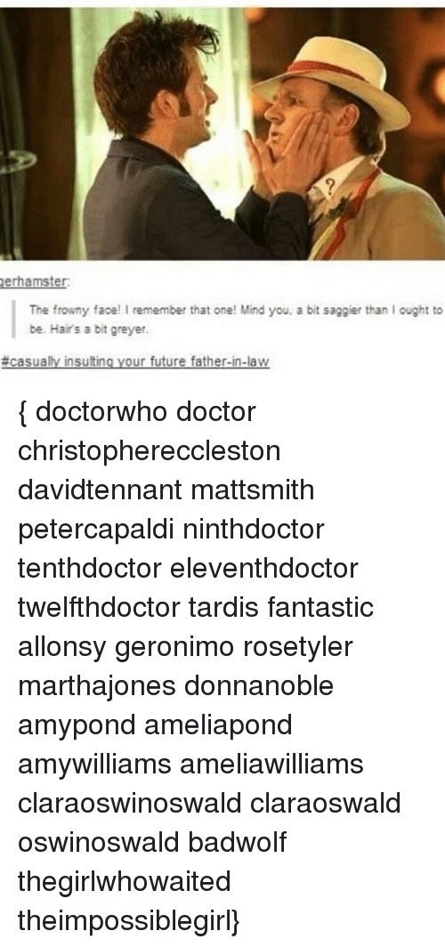 Doctor, Future, and Memes: er hamster:  The frowny face! I remember that one! Mind you, a bit saggier than lought to  be. Hairs a bit greyer.  insultin  our future father-in-law  { doctorwho doctor christophereccleston davidtennant mattsmith petercapaldi ninthdoctor tenthdoctor eleventhdoctor twelfthdoctor tardis fantastic allonsy geronimo rosetyler marthajones donnanoble amypond ameliapond amywilliams ameliawilliams claraoswinoswald claraoswald oswinoswald badwolf thegirlwhowaited theimpossiblegirl}
