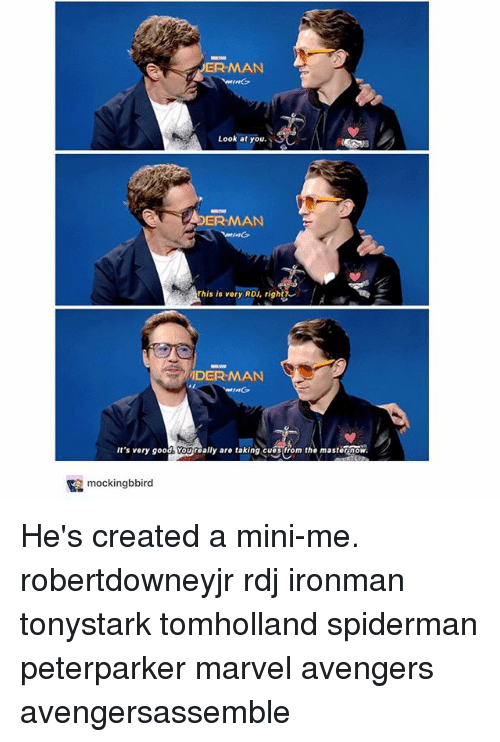 Memes, Mini-Me, and Avengers: ER-MAN  Look at you. 1  /\  (  DER-MAN  This is very RDJ, right?  DER-MAN  It's very good Youroally are taking cuosfrom tastenow  y are taxing com the mastornow  mockingbbird He's created a mini-me. robertdowneyjr rdj ironman tonystark tomholland spiderman peterparker marvel avengers avengersassemble