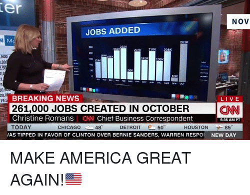 America, Anaconda, and Bernie Sanders: er  NOV  JOBS ADDED  261K  250  207K 210K  208K  500  164K  10 124K  100  50  18K  20,  BREAKING NEWS  261,000 JOBS CREATED IN OCTOBER  Christine Romans CNN Chief Business Correspondent  TODAY  LIVE  CNN  5:36 AM PT  CHICAGO  48  DETROIT 50  HOUSTON 85  AS TIPPED IN FAVOR OF CLINTON OVER BERNIE SANDERS, WARREN RESPO NEW DAY MAKE AMERICA GREAT AGAIN!🇺🇸