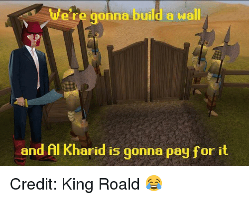 Build A Wall: ere gonna build a wall  and Al arid is gonna pay for it Credit: King Roald 😂