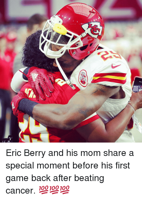 eric berry: Eric Berry and his mom share a special moment before his first game back after beating cancer. 💯💯💯