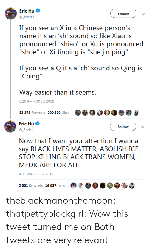 """Black Lives Matter: Eric Hu  @EricHu  Follow  If you see an X in a Chinese person's  name it's an 'sh' sound so like Xiao is  pronounced """"shiao"""" or Xu is pronounced  """"shoe"""" or Xi Jinping is """"she jin ping""""  If you see a Q it's a 'ch' sound so Qing is  """"Ching  Way easier than it seems.  53,178 Retweets 200,390 Likes  6:20 AM-30 Jul 2018   Eric Hu  @EricHu  Follow  Now that I want your attention I wanna  say BLACK LIVES MATTER, ABOLISH ICE,  STOP KILLING BLACK TRANS WOMEN,  MEDICARE FOR ALL  9:03 PM-30 Jul 2018  2,001 Retweets 16,087 Likes @  OO. De.so theblackmanonthemoon:  thatpettyblackgirl: Wow this tweet turned me on  Both tweets are very relevant"""