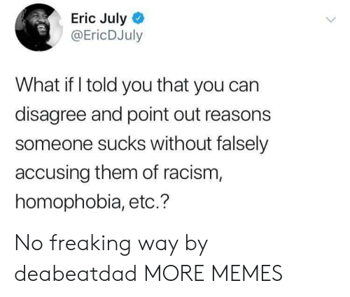 what if i told you: Eric July  @EricDJuly  What if I told you that you can  disagree and point out reasons  someone sucks without falsely  accusing them of racism,  homophobia, etc.? No freaking way by deabeatdad MORE MEMES