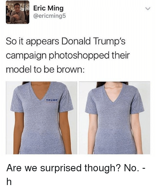Minging: Eric Ming  @ericming5  So it appears Donald Trump's  campaign photoshopped their  model to be brown  TRUMP Are we surprised though? No. -h
