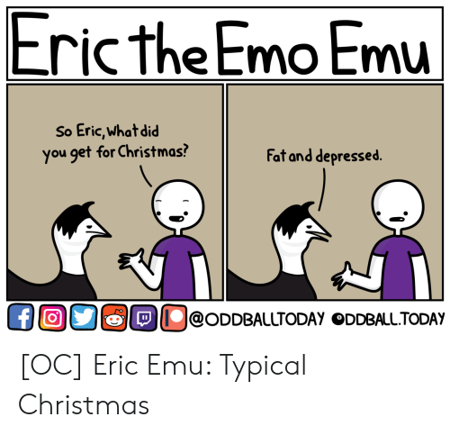 What Did You Get: Eric the Emo Emu  So Eric,what did  you get for Christmas?  Fat and depressed.  OllolODDBAlUTODAY ODDBALL.TODAY [OC] Eric Emu: Typical Christmas