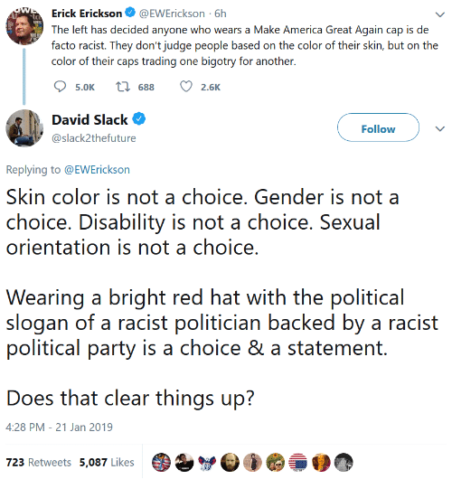 orientation: Erick Erickson@EWErickson 6h  The left has decided anyone who wears a Make America Great Again cap is de  facto racist. They don't judge people based on the color of their skin, but on the  color of their caps trading one bigotry for another.  5.0K  688  2.6K  David Slack  @slack2thefuture  Follow  Replying to @EWErickson  Skin color is not a choice. Gender is not a  choice. Disability is not a choice. Sexual  orientation is not a choice  Wearing a bright red hat with the political  slogan of a racist politician backed by a racist  political party is a choice & a statement.  Does that clear things up?  4:28 PM - 21 Jan 2019  723 Retweets 5,087 Likes