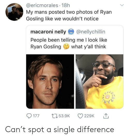 Ryan Gosling: @ericmorales 18h  My mans posted two photos of Ryan  Gosling like we wouldn't notice  macaroni nelly@nellychillin  People been telling me I look like  Ryan Gosling what y'all think  1  77 5.9 22 Can't spot a single difference