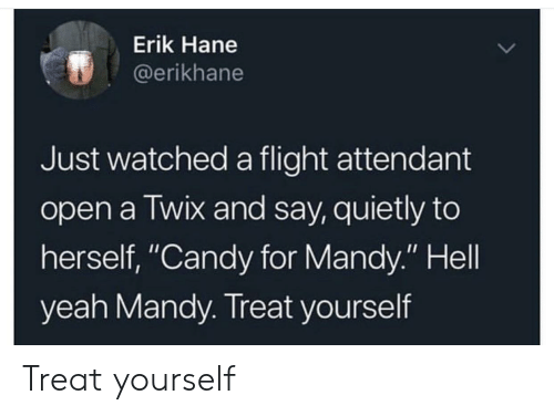 """Treat Yourself: Erik Hane  @erikhane  Just watched a flight attendant  open a Twix and say, quietly to  herself, """"Candy for Mandy."""" Hell  yeah Mandy. Treat yourself Treat yourself"""