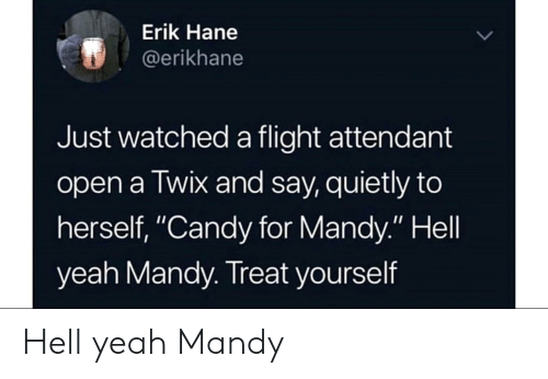 """Treat Yourself: Erik Hane  @erikhane  Just watched a flight attendant  open a Twix and say, quietly to  herself, """"Candy for Mandy."""" Hell  yeah Mandy. Treat yourself Hell yeah Mandy"""