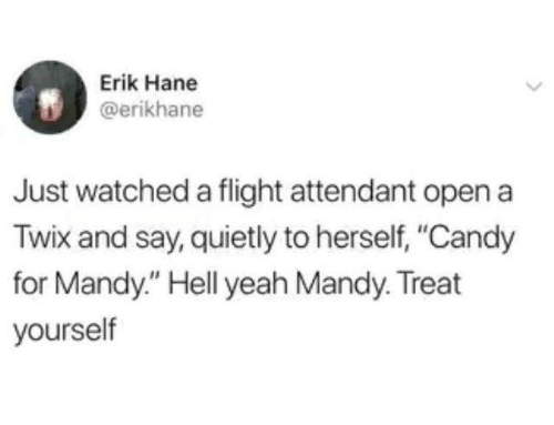 "Flight Attendant: Erik Hane  @erikhane  Just watched a flight attendant open a  Twix and say, quietly to herself, ""Candy  for Mandy."" Hell yeah Mandy. Treat  yourself"