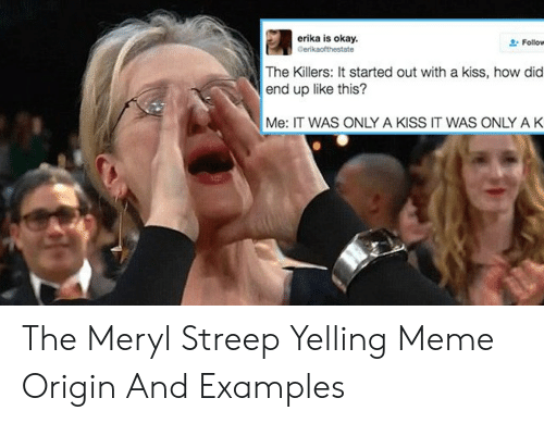 Meme Examples: erika is okay.  Cerikaofthestate  Follow  The Killers: It started out with a kiss, how did  end up like this?  Me: IT WAS ONLY A KISS IT WAS ONLY A K The Meryl Streep Yelling Meme Origin And Examples