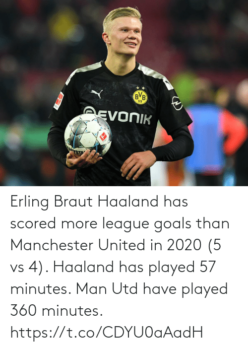 Manchester United: Erling Braut Haaland has scored more league goals than Manchester United in 2020 (5 vs 4). Haaland has played 57 minutes. Man Utd have played 360 minutes. https://t.co/CDYU0aAadH