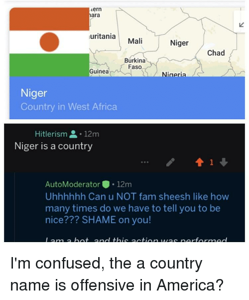 Hitlerism: ern  ara  uritaniaMali  Niger  Chad  Burkina  Faso  Guinea  Nigeria  Niger  Country in West Africa  Hitlerism .12m  Niger is a country  AutoModerator.12m  Uhhhhhh Can u NOT fam sheesh like how  many times do we have to tell you to be  nice??? SHAME on you!
