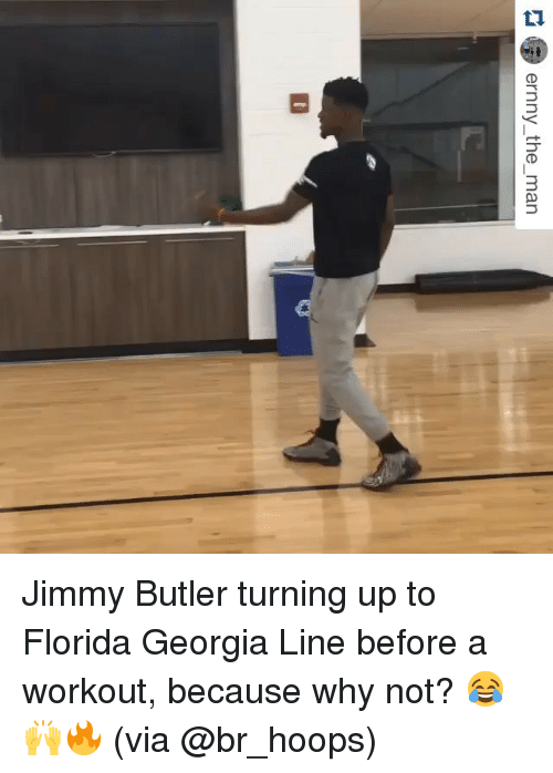 Turn up: ernny the man Jimmy Butler turning up to Florida Georgia Line before a workout, because why not? 😂🙌🔥 (via @br_hoops)