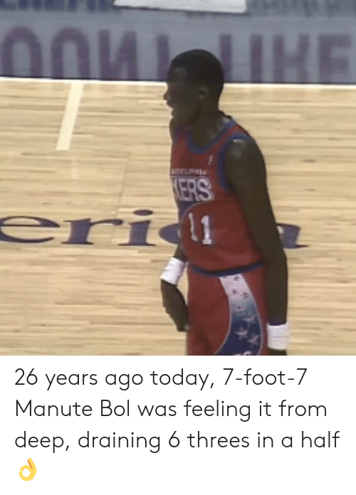 Threes: ERS 26 years ago today, 7-foot-7 Manute Bol was feeling it from deep, draining 6 threes in a half 👌