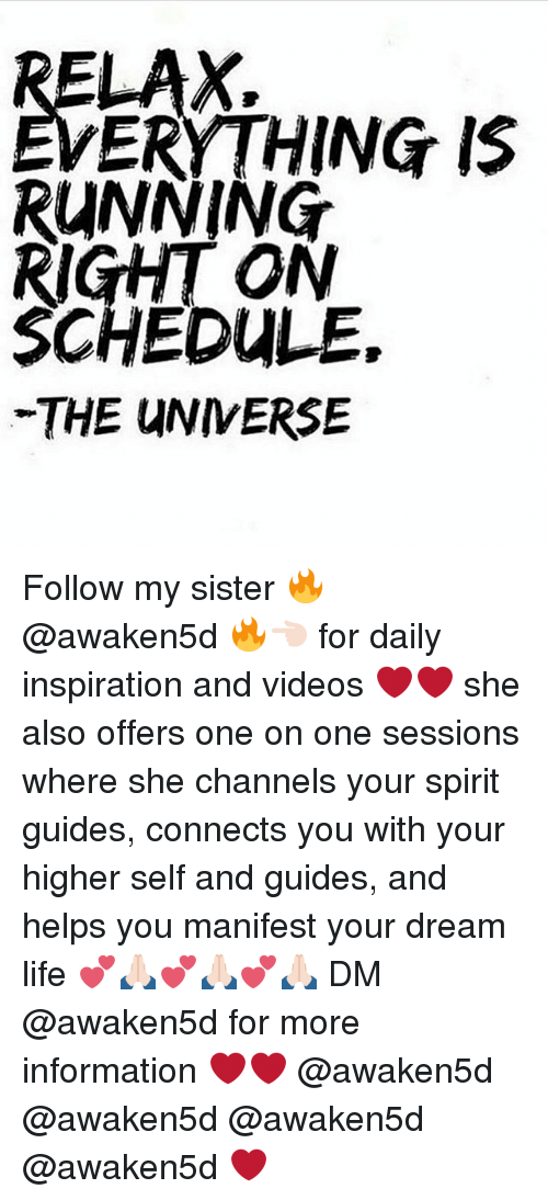Life, Memes, and Videos: ERYTHING IS  RUNNING  RIGHT ON  SCHEDULE.  THE UNIVERSE Follow my sister 🔥 @awaken5d 🔥👈🏻 for daily inspiration and videos ❤️❤️ she also offers one on one sessions where she channels your spirit guides, connects you with your higher self and guides, and helps you manifest your dream life 💕🙏🏻💕🙏🏻💕🙏🏻 DM @awaken5d for more information ❤️❤️ @awaken5d @awaken5d @awaken5d @awaken5d ❤️