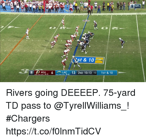 Memes, Nfl, and Chargers: es  NFL  t & 10  LAG-  2ND 10:13 10 1ST & 10  (5-7)  16-6) Rivers going DEEEEP.  75-yard TD pass to @TyrellWilliams_! #Chargers https://t.co/f0lnmTidCV