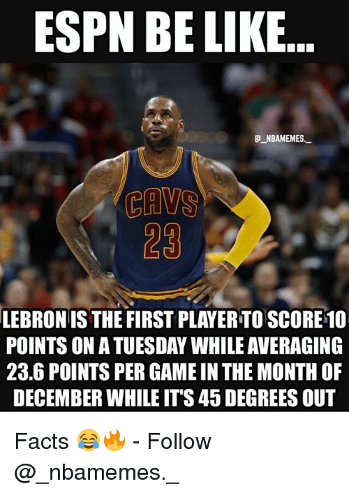 Be Like, Espn, and Facts: ESPN BE LIKE  a NBAMEMES.  23  LEBRON IS THE FIRST PLAYER TO SCORE1O  POINTS ON A TUESDAY WHILE AVERAGING  23.6 POINTS PER GAME IN THE MONTH OF  DECEMBER WHILE ITS 45 DEGREES OUT Facts 😂🔥 - Follow @_nbamemes._