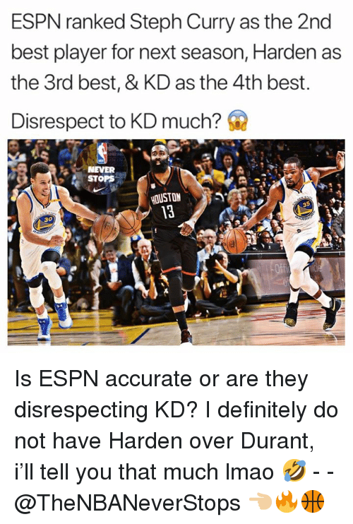 Definitely, Espn, and Lmao: ESPN ranked Steph Curry as the 2nd  best player for next season, Harden as  the 3rd best, & KD as the 4th best.  Disrespect to KD much?  NEVER  STOPS  HOUSTON  30 Is ESPN accurate or are they disrespecting KD? I definitely do not have Harden over Durant, i'll tell you that much lmao 🤣 - - @TheNBANeverStops 👈🏼🔥🏀