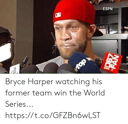 Mas: ESPN  @woodymib4  Mtop  mas  FAN Bryce Harper watching his former team win the World Series... https://t.co/GFZBn6wLST