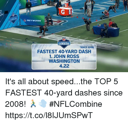 Memes, 🤖, and Ross: ESPONSE  TO  TEAM  COMBINE  NEL  COMBINE  SINCE 2008  FASTEST 40-YARD DASH  1. JOHN ROSS  WASHINGTON  4.22 It's all about speed...the TOP 5 FASTEST 40-yard dashes since 2008! 🏃💨 #NFLCombine https://t.co/l8IJUmSPwT