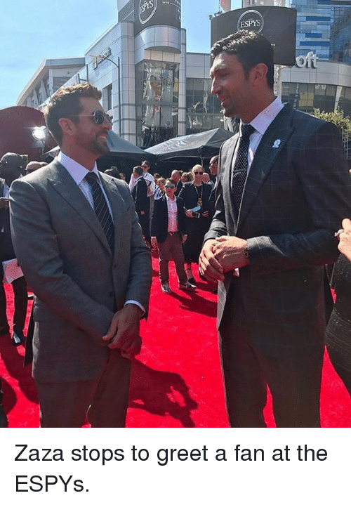 Basketball, Golden State Warriors, and Sports: ESPYS Zaza stops to greet a fan at the ESPYs.