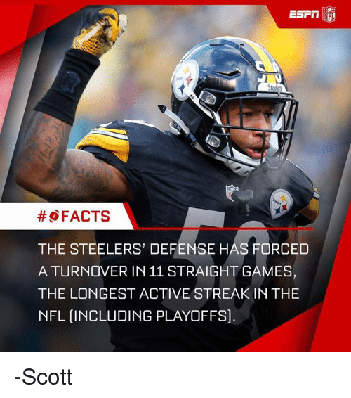 Memes, Steelers, and 🤖: ESrin  NFL  FACTS  THE STEELERS' DEFENSE HAS FORCED  A TURNOVER IN 11 STRAIGHT GAMES,  THE LONGEST ACTIVE STREAK IN THE  NFL INCLUDING PLAYOFFS]. -Scott