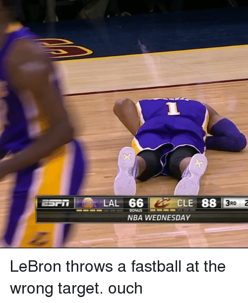 NBA: | ESrir LAL 66 P29 CLE 88ER E  esm----LAL 66で一CLE 88 |  LAL 66 CLE 88 lSuE  : : 13RD  BONUS  NBA WEDNESDAY LeBron throws a fastball at the wrong target. ouch