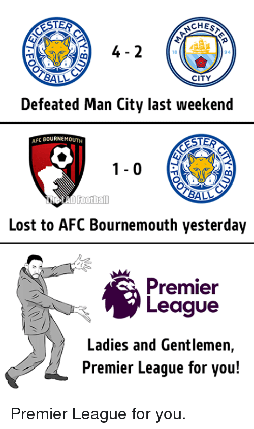 Memes, Premier League, and 🤖: ESTER  CHESA  94  BALL  CITY  Defeated Man City last weekend  AFC BOURNEMOUTH  BALL  Football  Lost to AFC Bournemouth yesterday  Premier  League  Ladies and Gentlemen,  Premier League for you! Premier League for you.