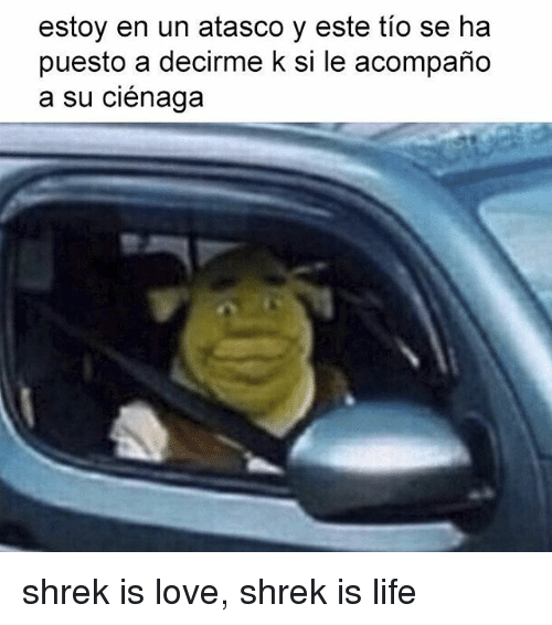 Life, Love, and Shrek: estoy en un atasco y este tio se ha  puesto a decirme k si le acompaño  a su ciénaga shrek is love, shrek is life